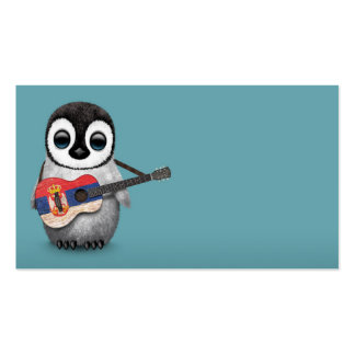 Baby Penguin Playing Serbian Flag Guitar Blue Business Card