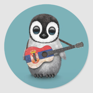 Baby Penguin Playing Serbian Flag Guitar Blue Round Sticker