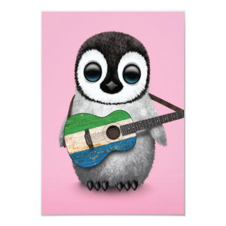 Baby Penguin Playing Sierra Leone Flag Guitar Pink Card