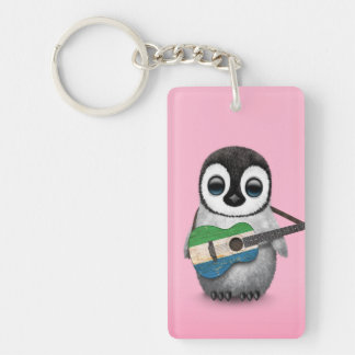 Baby Penguin Playing Sierra Leone Flag Guitar Pink Keychain