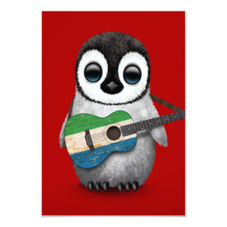 Baby Penguin Playing Sierra Leone Flag Guitar Red 3.5x5 Paper Invitation Card