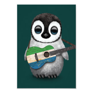 Baby Penguin Playing Sierra Leone Flag Guitar Teal Card