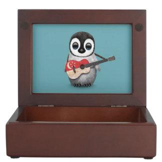 Baby Penguin Playing Singapore Flag Guitar Blue Keepsake Box