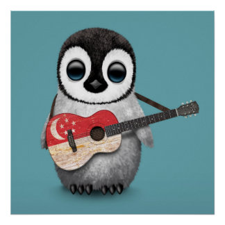 Baby Penguin Playing Singapore Flag Guitar Blue Posters