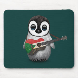 Baby Penguin Playing Sudanese Flag Guitar Teal Mouse Pad