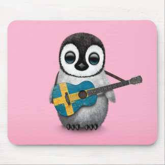 Baby Penguin Playing Swedish Flag Guitar Pink Mouse Pad
