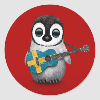 Baby Penguin Playing Swedish Flag Guitar Red Classic Round Sticker
