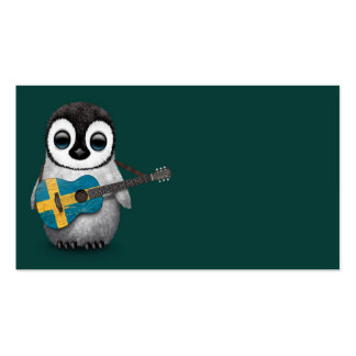 Baby Penguin Playing Swedish Flag Guitar Teal Business Card
