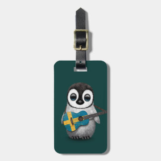 Baby Penguin Playing Swedish Flag Guitar Teal Luggage Tags