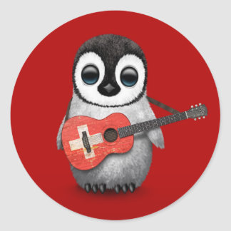 Baby Penguin Playing Swiss Flag Guitar Red Classic Round Sticker