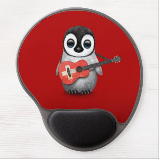 Baby Penguin Playing Swiss Flag Guitar Red Gel Mouse Pad