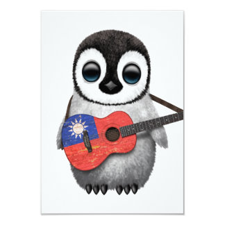 Baby Penguin Playing Taiwanese Flag Guitar 3.5x5 Paper Invitation Card