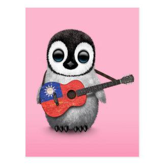 Baby Penguin Playing Taiwanese Flag Guitar Pink Postcard