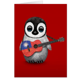 Baby Penguin Playing Taiwanese Flag Guitar Red Card