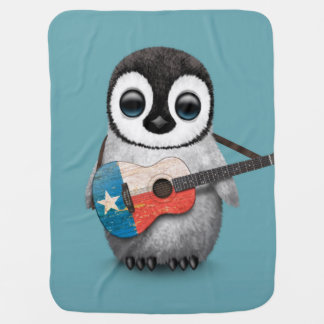 Baby Penguin Playing Texas Flag Guitar Blue Baby Blanket