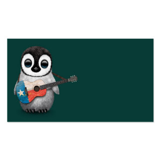 Baby Penguin Playing Texas Flag Guitar Teal Business Card