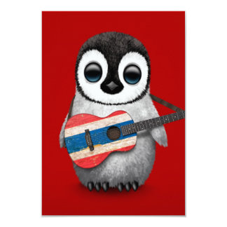 """Baby Penguin Playing Thai Flag Guitar Red 3.5"""" X 5"""" Invitation Card"""