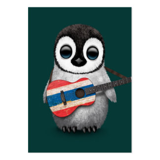 Baby Penguin Playing Thai Flag Guitar Teal Large Business Card