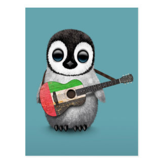 Baby Penguin Playing UAE Flag Guitar Blue Postcard