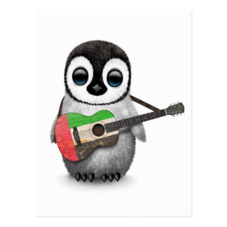 Baby Penguin Playing UAE Flag Guitar Postcard