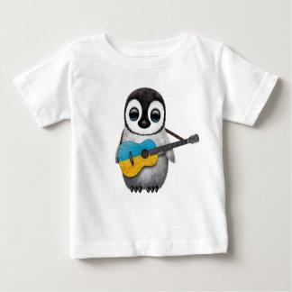 Baby Penguin Playing Ukrainian Flag Guitar Baby T-Shirt
