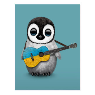 Baby Penguin Playing Ukrainian Flag Guitar Blue Postcard