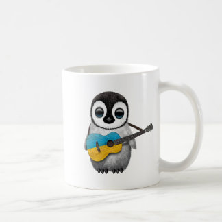 Baby Penguin Playing Ukrainian Flag Guitar Coffee Mug