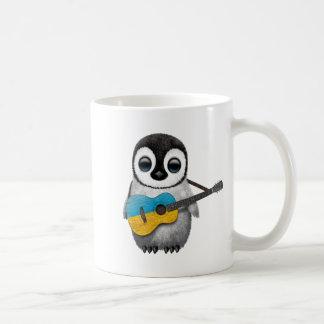Baby Penguin Playing Ukrainian Flag Guitar Mug