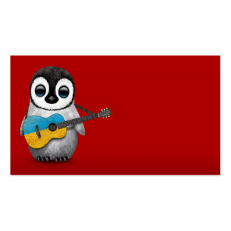Baby Penguin Playing Ukrainian Flag Guitar Red Business Card