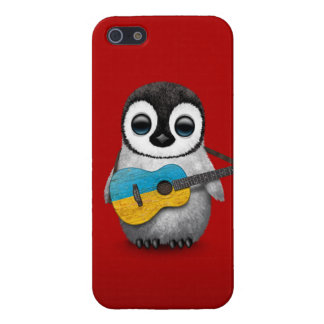 Baby Penguin Playing Ukrainian Flag Guitar Red iPhone 5/5S Cases