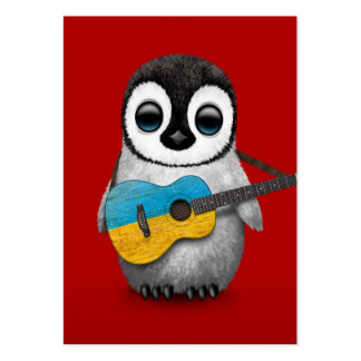 Baby Penguin Playing Ukrainian Flag Guitar Red Large Business Card