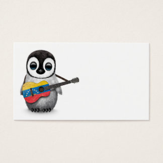 Baby Penguin Playing Venezuelan Flag Guitar Business Card