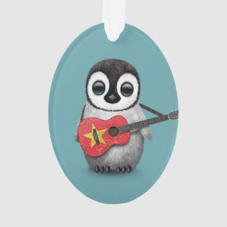 Baby Penguin Playing Vietnamese Flag Guitar Blue