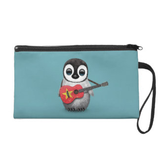 Baby Penguin Playing Vietnamese Flag Guitar Blue Wristlets