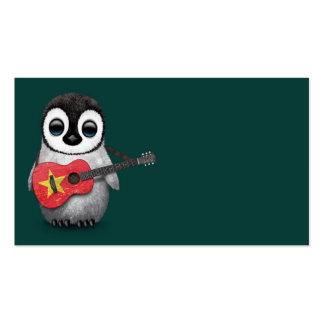 Baby Penguin Playing Vietnamese Flag Guitar Teal Business Card
