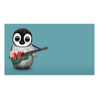 Baby Penguin Playing Welsh Flag Guitar Blue Business Card Templates