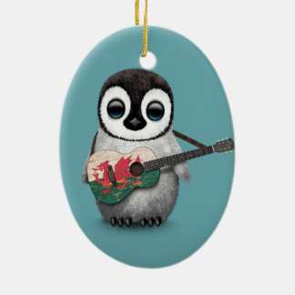 Baby Penguin Playing Welsh Flag Guitar Blue Ornaments