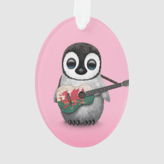 Baby Penguin Playing Welsh Flag Guitar Pink