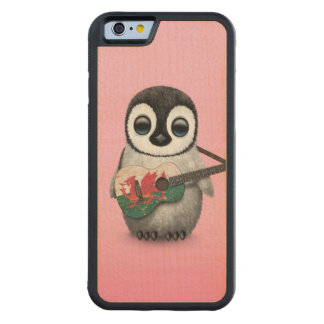 Baby Penguin Playing Welsh Flag Guitar Pink Carved Maple iPhone 6 Bumper Case