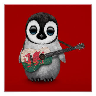 Baby Penguin Playing Welsh Flag Guitar Red Poster