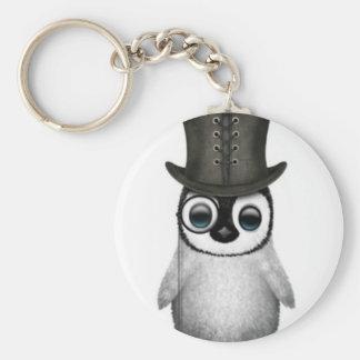 baby penguin top hat basic round button keychain
