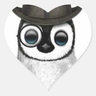 baby penguin top hat heart sticker