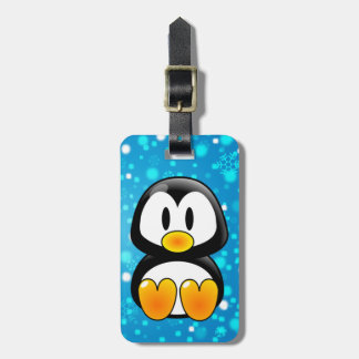baby penguin tux luggage tag