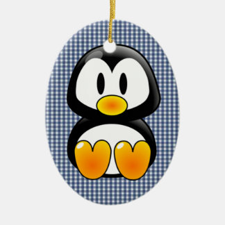 baby penguin tux Double-Sided oval ceramic christmas ornament