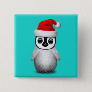 Baby Penguin Wearing a Santa Hat Pinback Button