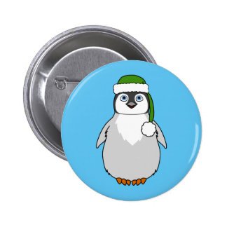 Baby Penguin with Green Santa Hat 2 Inch Round Button