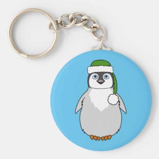 Baby Penguin with Green Santa Hat Basic Round Button Keychain