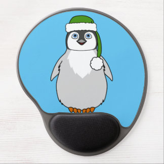 Baby Penguin with Green Santa Hat Gel Mouse Pad