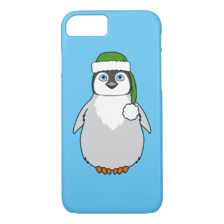 Baby Penguin with Green Santa Hat iPhone 8/7 Case