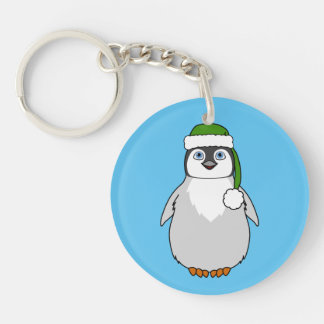 Baby Penguin with Green Santa Hat Keychain